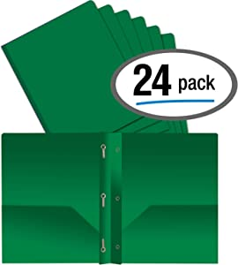 Better Office Products Green Plastic 2 Pocket Folders with Prongs, Heavyweight, Letter Size Poly Folders, 24 Pack, with 3 Metal Prongs Fastener Clips, Green