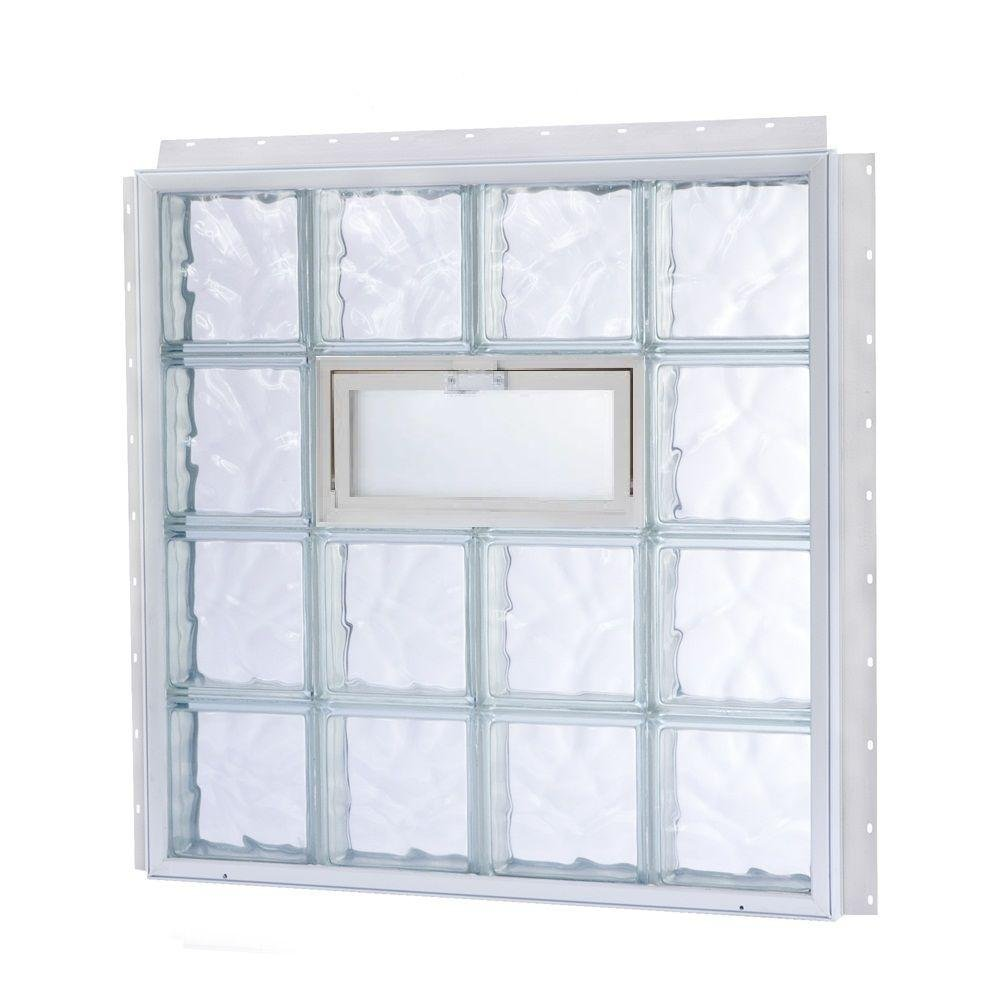 NailUp2 31-5/8 in. x 35-3/8 in. x 3-1/4 in. Vented Wave Pattern Replacement Glass Block Window