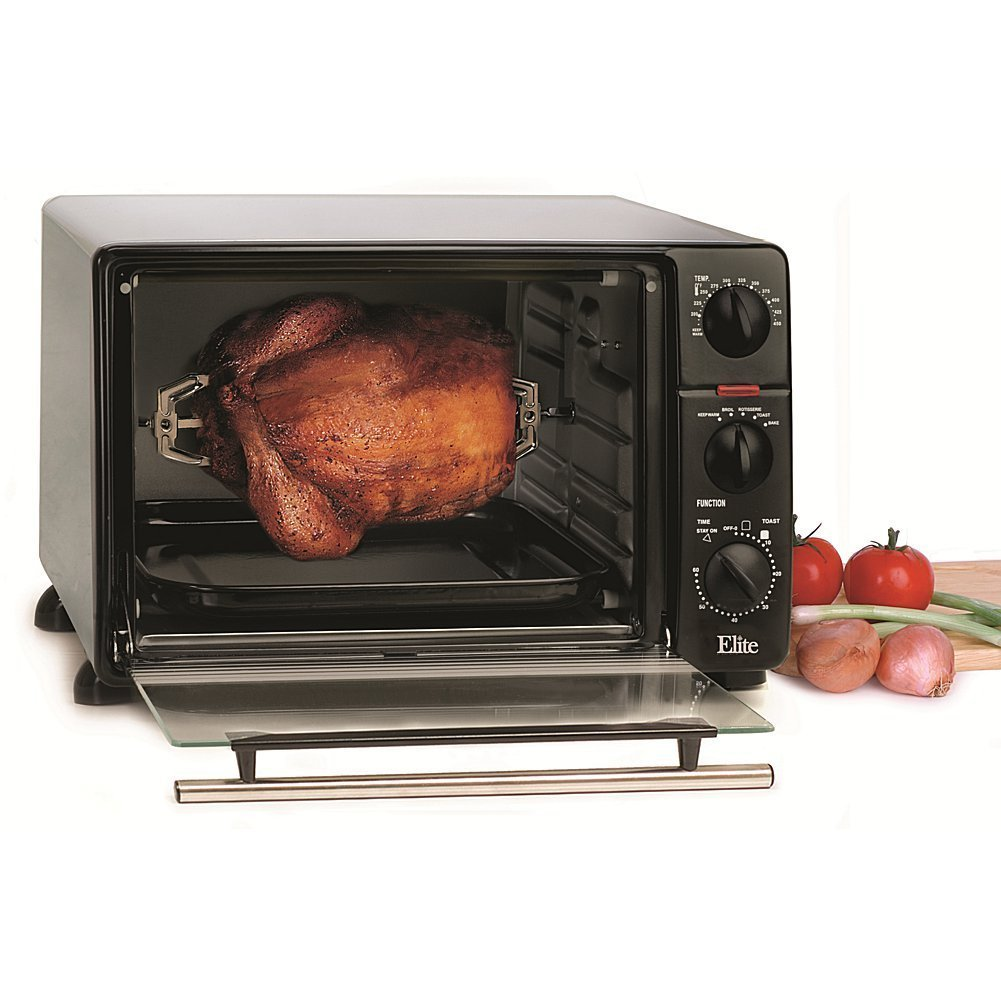 Elite Cuisine ERO-2008N Maxi-Matic 6-Slice Toaster Oven Broiler with Rotisserie, Black (Stainless Steel)