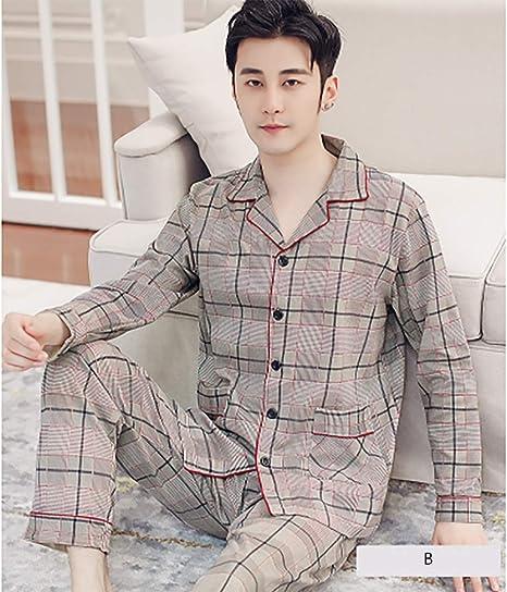 Pijamas Hombre con Botones Manga Larga y Pantalones Largos 2 ...