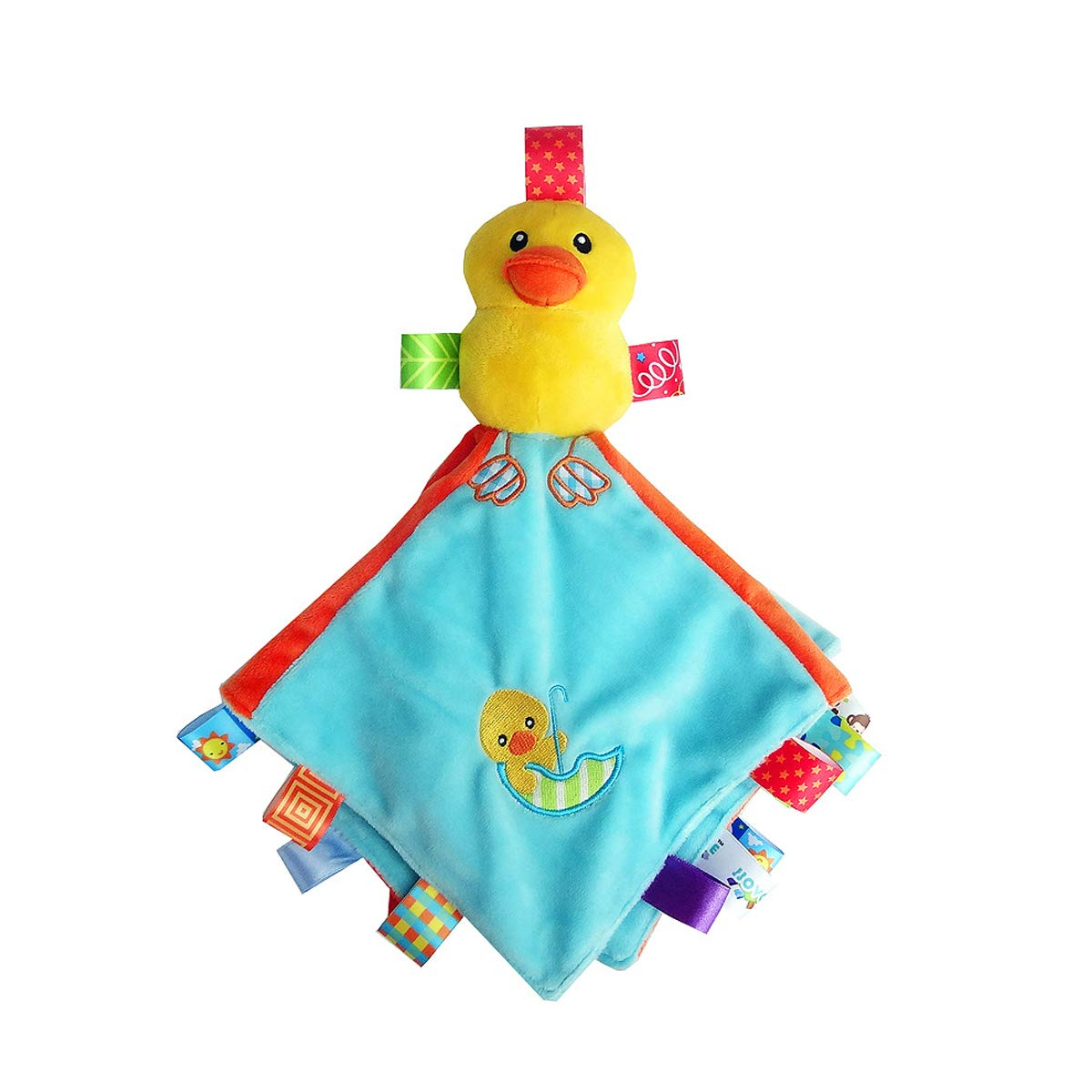 Duck Tag Blanket Toy for Baby Plush Yellow Duck Comforter Blanket,Super Soft Kids Taggy Security Blanket Best Gift For Newborn Toddler