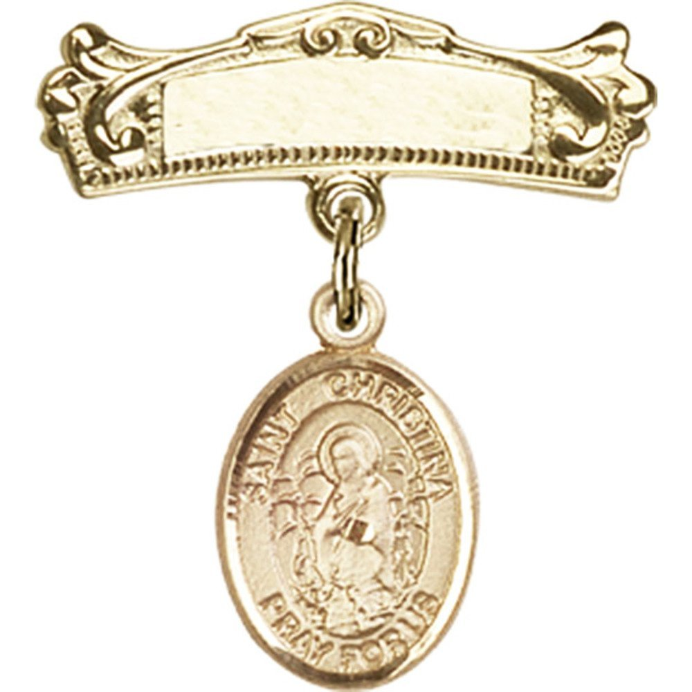 ゴールドFilled Babyバッジwith聖Christina Astonishingチャームとアーチ型光沢のバッジピン7 / 8 x 3 / 4インチ   B00PQ7X2Z2