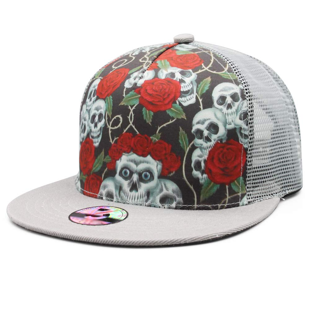 095639cc UNIQUE DESIGN - The unique design and stylish skull style are printed on  the hat for all skull lovers. MATERIAL - 100% polyester,delivers true  breathability ...