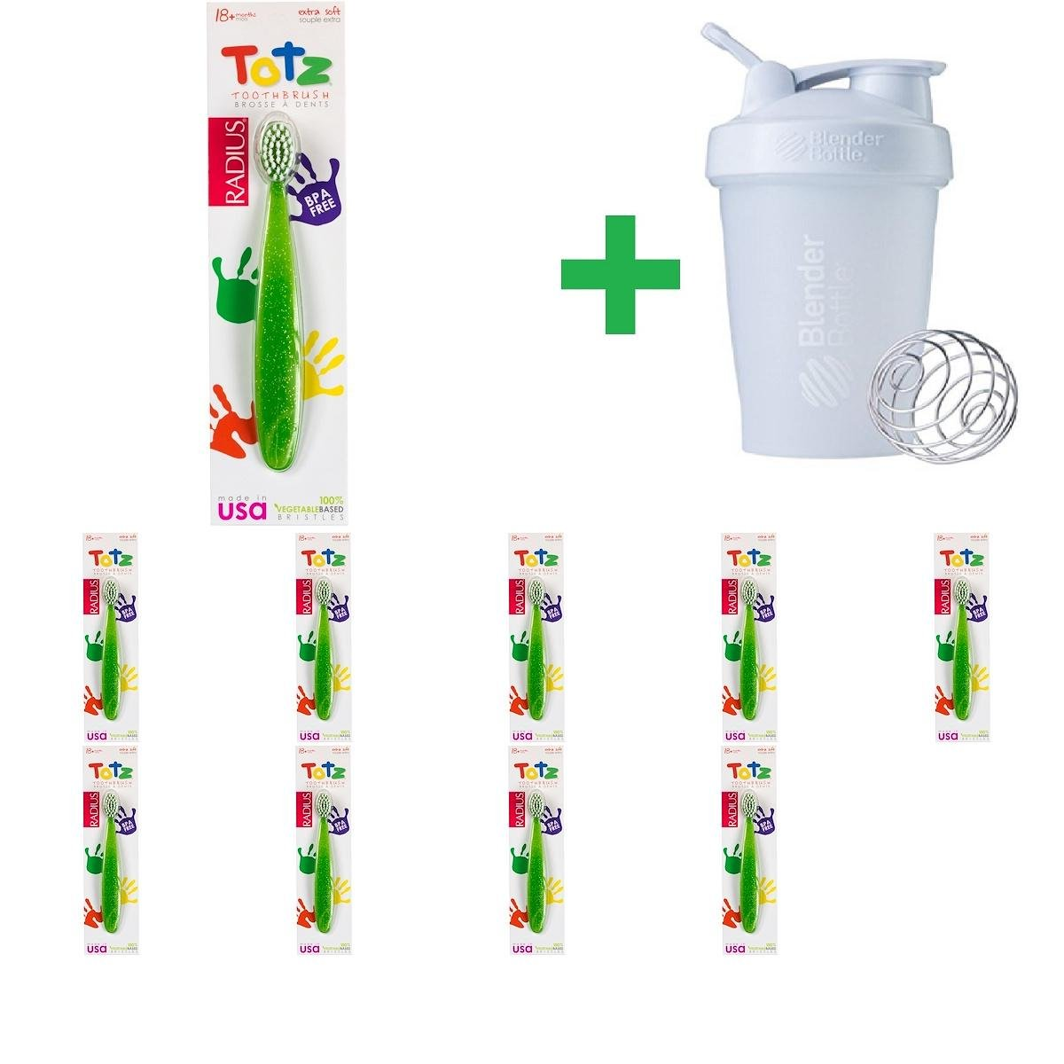 RADIUS, Totz Toothbrush, 18 + Months, Extra Soft, Green Sparkle(10 Packs)+ Assorted Sundesa, BlenderBottle, Classic With Loop, 20 oz