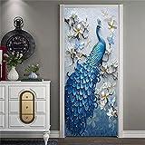 """KELAI & craft art decor 3D Door Murals Wallpaper Wall Stickers-Removable Door Stickers Door Murals Decals Self-Adhesive Door Mural Decals Waterproof Vinyl Door Wall Stickers 35.5"""" x 78.7' (Peacock)"""