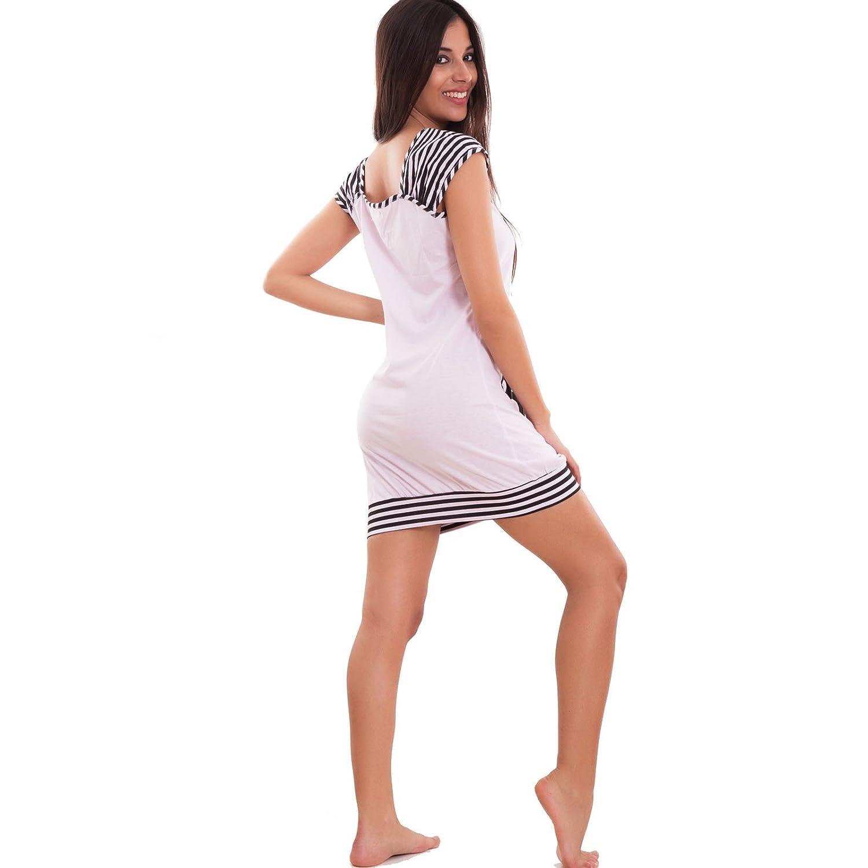 Toocool E19 – Camisón para mujer, de pijama, estilo kawaii, de Panda, a rayas, de manga corta violeta Large : Amazon.es: Ropa y accesorios