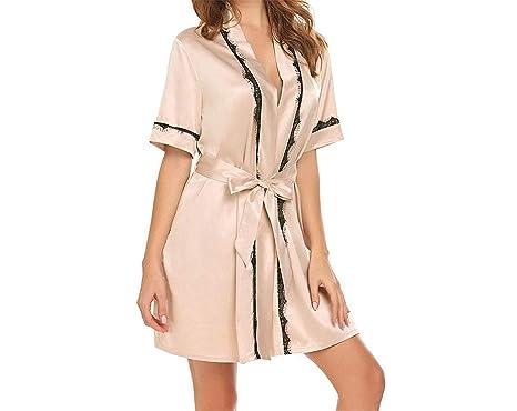 8ec32f0984 Rankei Sexy Women Nightgown Robe Summer Bathrobe Short Sleeve Satin Robes  Lady Dressing Gown Home Sleepwear