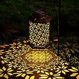 LeiDrail Solar Lantern Outdoor Garden LED Light Hanging Lanterns Metal Decorative Waterproof Landscape Lighting for…