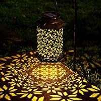 LeiDrail Solar Lantern Outdoor Garden LED Light Hanging Lanterns Metal Decorative Waterproof Landscape Lighting for…