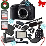 Canon EOS 5D Mark III 22.3 MP Full Frame CMOS Sensor Digital SLR Camera (Body Only) with 2pc SanDisk 32GB Memory Cards + Battery Power Grip + Special Promotional Holiday Accessory Bundle