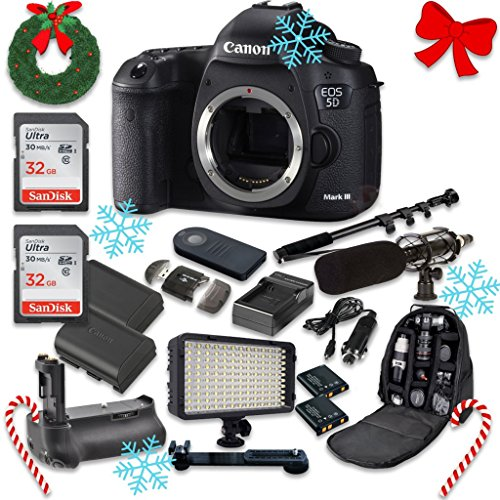 Canon EOS 5D Mark III 22.3 MP Full Frame CMOS Sensor Digital SLR Camera (Body Only) with 2pc SanDisk 32GB Memory Cards + Battery Power Grip + Special Promotional Holiday Accessory Bundle (Special Promotional Bundle)