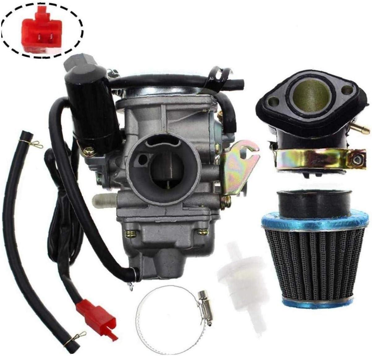 Hainice PD24J Carburateur pour GY6 125cc 150cc Go Kart Scooter 152QMI 157QMJ Carb avec Filtre /à air du collecteur dadmission Pi/èce de Rechange