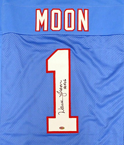 HOUSTON OILERS WARREN MOON AUTOGRAPHED BLUE JERSEY