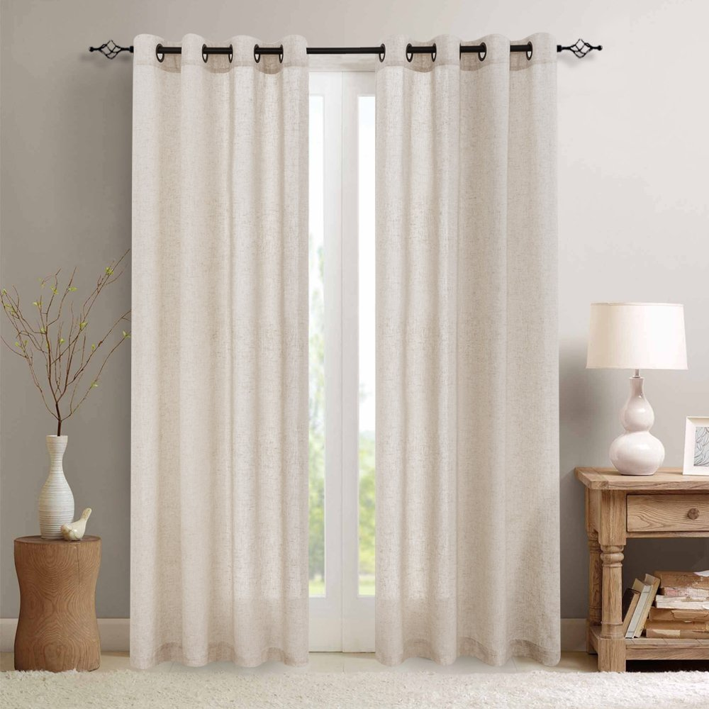 jinchan Linen Textured Curtains for Living Room Grommet Top Window Treatment Set for Bedroom 2 Panels 95 inches Long Crude