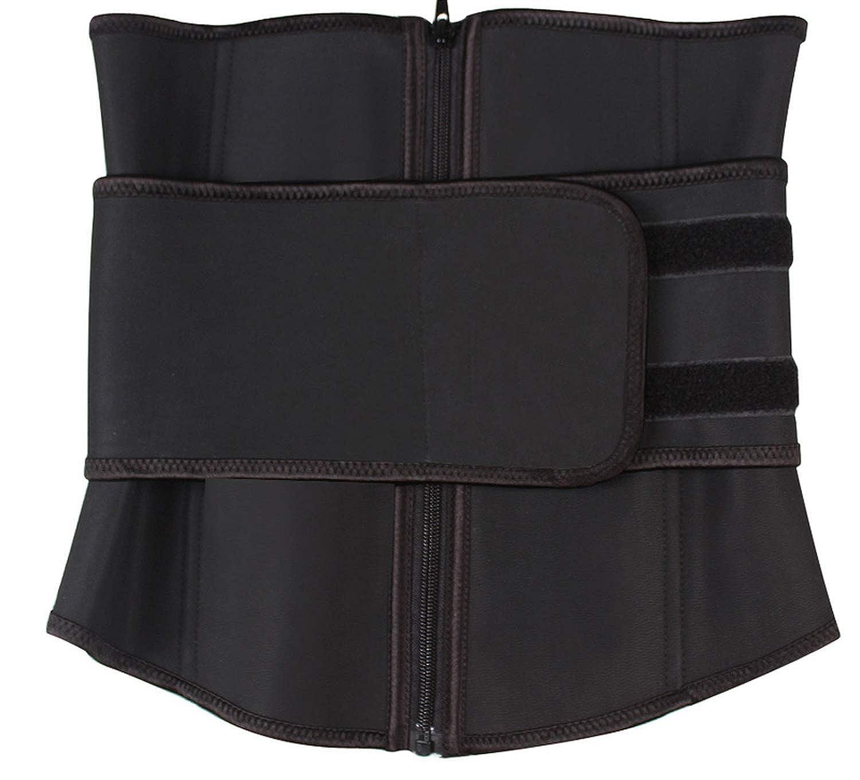 Abdominal Belt High Compression Zipper Latex Waist Corset Body Sweat Waist Trainer,Black,4XL