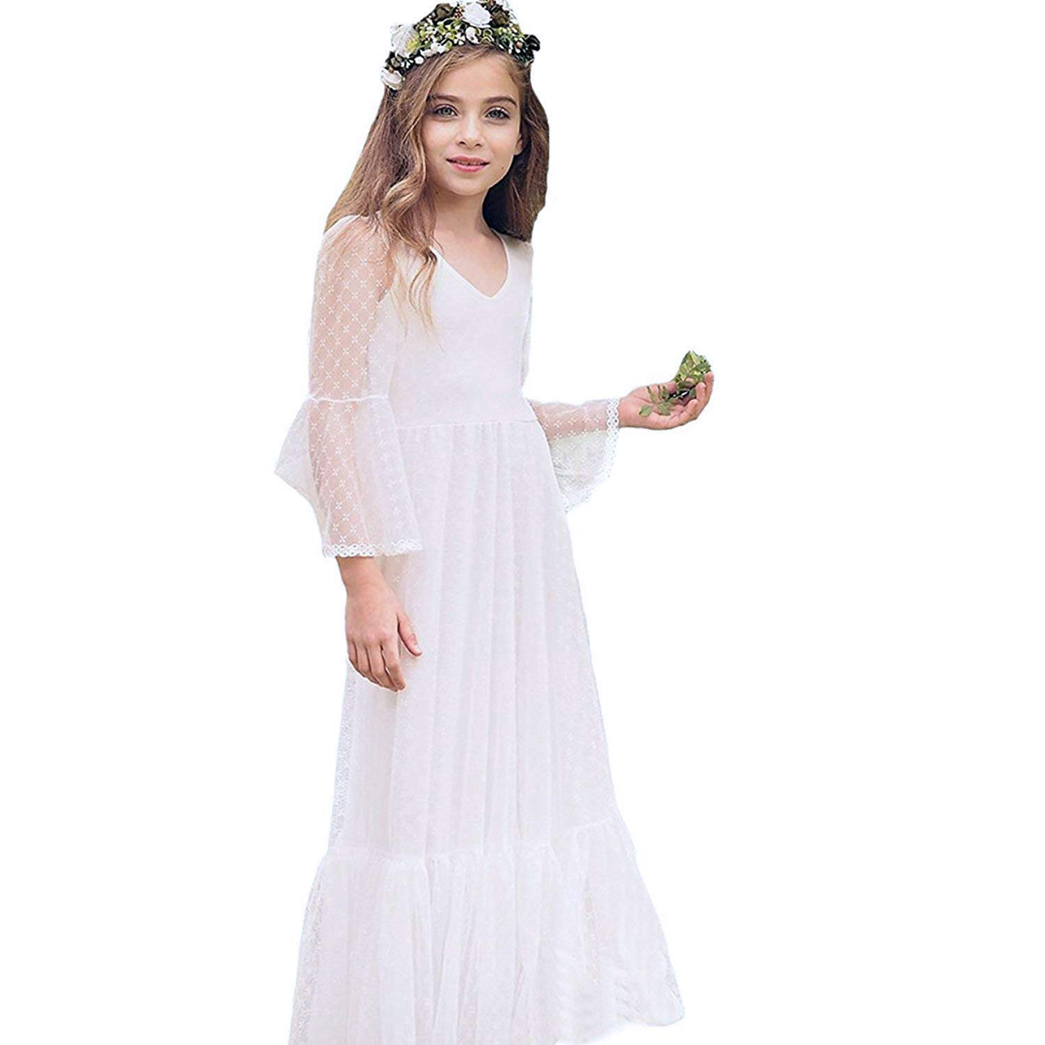 Victorian Kids Costumes & Shoes- Girls, Boys, Baby, Toddler Boho-Chic Flower Girl Dress Lace First Communion Dresses $39.99 AT vintagedancer.com