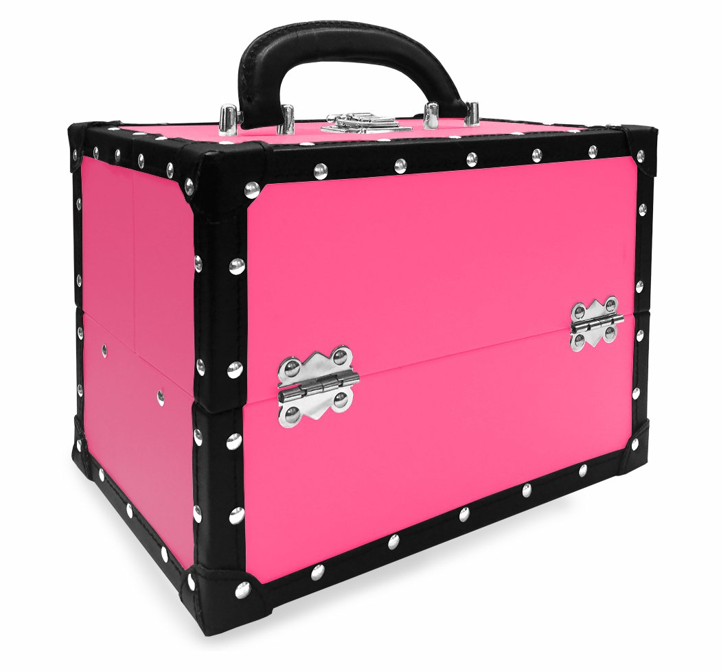 BR Carry All Trunk Train Case with Makeup and Reusable Case Makeup Gift Set Pink