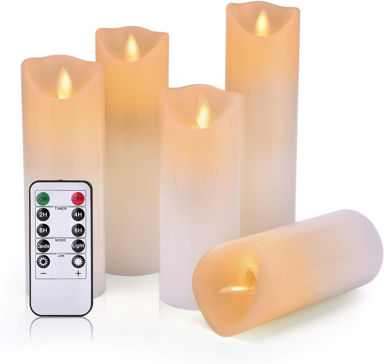 4 pulgadas 5 pulgadas 6 pulgadas,velas el/éctricas que funcionan con pilas con temporizador y control remoto llama danzante con mecha m/óvil realista,3psc,Oro roto. Velas parpadeantes sin llama