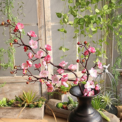 Flower,YJYdada Artificial Silk Fake Flowers Plum Blossom Floral Wedding Bouquet Party Decor (Pink)]()
