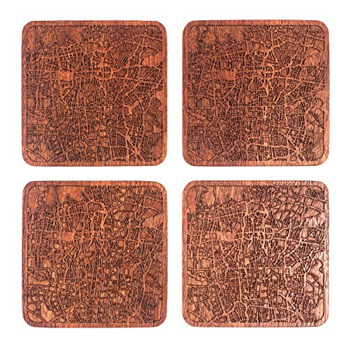 y O3 Design Studio, Set of 4, Sapele Wooden Coaster with city map, Multiple city optional, Handmade (Machine Made Persian Garden)