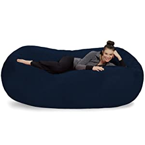 Sofa Sack - Plush Bean Bag Sofas with Super Soft Microsuede Cover - XL Memory Foam Stuffed Lounger Chairs for Kids, Adults, Couples - Jumbo Bean Bag Chair Furniture - Navy 7.5'