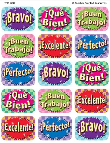 Teacher Created Resources Good Work (Spanish) 90 Jumbo Stickers, Multi Color (5734) (Jumbo Teacher Stamps)