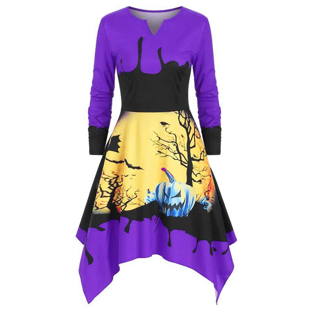 charmsamx Womens Halloween Pumpkin Printed Sweatshirt Dress Casual V-Neck Sweatshirt Dress Slim Long Sleeve Pullover Hoodie Dress Tunics Blouse Tops Purple, M by charmsamx