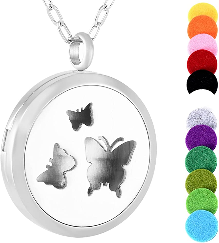 Flowers butterfly essential oil necklace locket diffuser