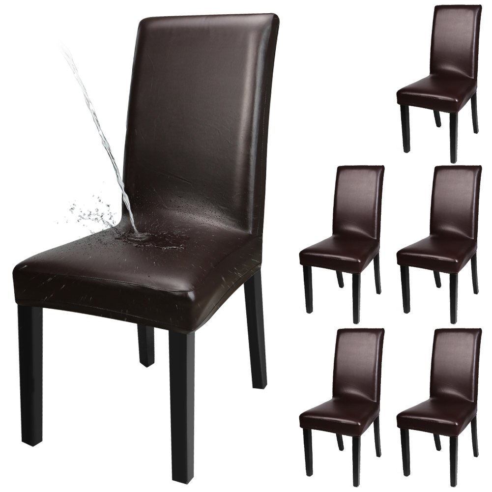 YISUN Dining Chair Covers Solid Pu Leather Waterproof and Oilproof Stretch Dining Chair Protctor Cover Slipcover (Brown 6 Pack)