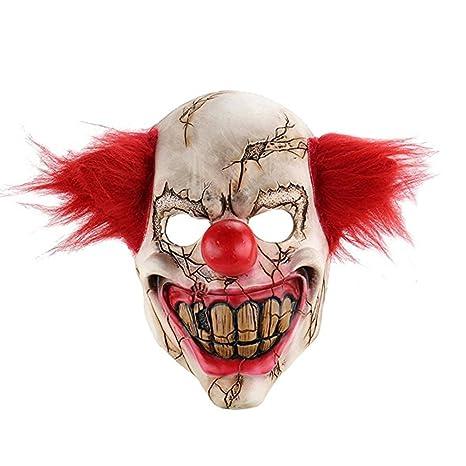 Zantec Maschera in lattice Clown spaventoso Bocca grande Capelli rossi  Cosplay Full Face Horror Masquerade Maschere 949d65a6c7ab