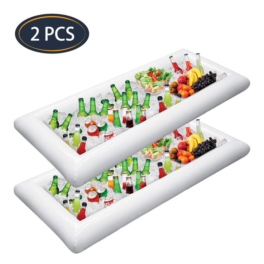 Jasonwell 2 PCS Inflatable Serving Bars Ice Buffet Salad Serving Trays Food Drink Holder Cooler Containers Indoor Outdoor BBQ Picnic Pool Party Supplies Luau Cooler w Drain Plug by Jasonwell