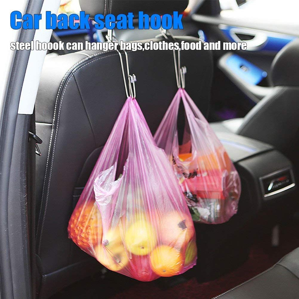 Fourcase 4 Pack Car Hooks,Auto Truck Vehicle Back Seat Headrest Hanger Holder Hooks for Bag Purse Cloth Handbag Coat Grocery