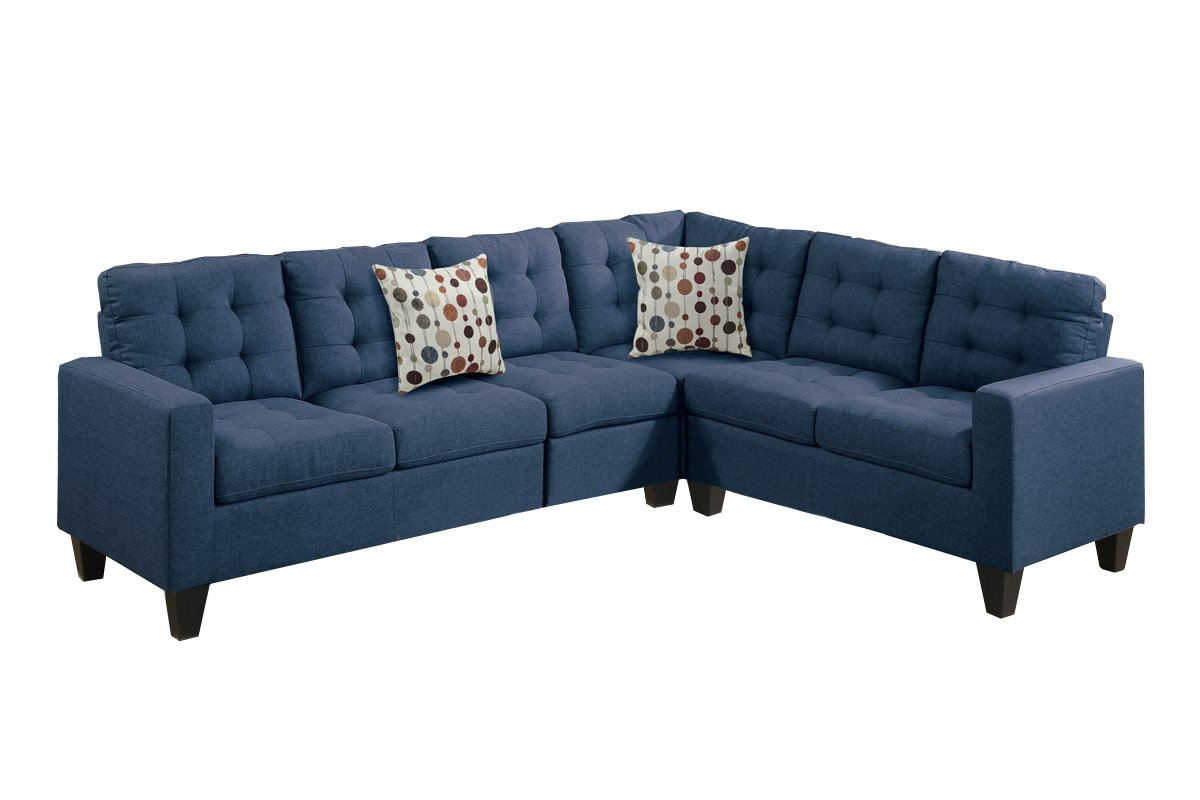 Poundex F6938 Bobkona Burril Linen-Like 4 Piece Left or Right Hand Reversible Sectional Set, Navy by Poundex