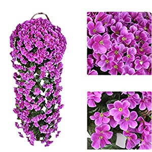 Wcysin 2PCS Artificial Vine Silk Flower Garland Hanging Baskets Plants Home Outdoor Wedding Arch Garden Wall Decor 120