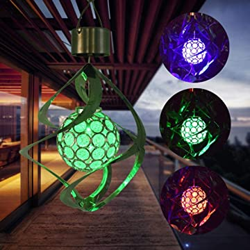oineke Waterproof AUTO Solar LED Wind Chimes Changing Color Light Rotating Crystal Ball Light Garden Outdoor Hanging Lamp