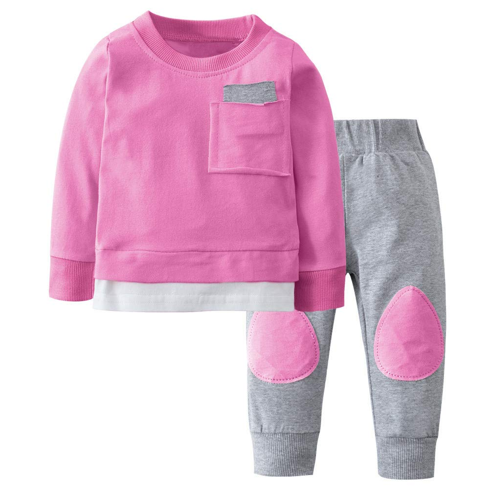Pants Outfits Pajamas Set SUNBIBE 2Pcs Clothes Cute Newborn Baby Girls Patchwork Pullover T-Shirt Top