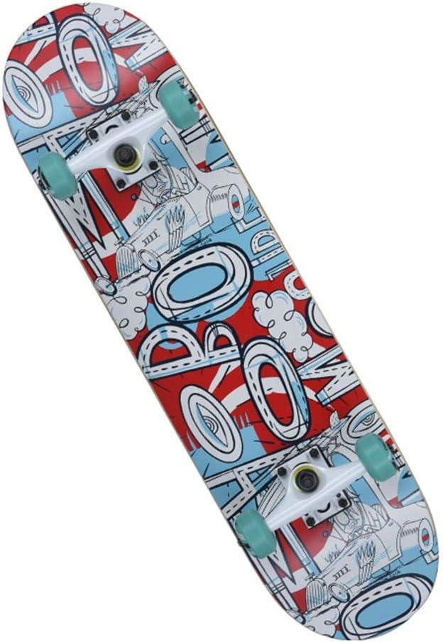 スタンダードスケートボードプロスケートボードコンプリートスケートボード凹面デッキ4ホイール9層メープル初心者に適している男の子女の子女の子大人子供 A