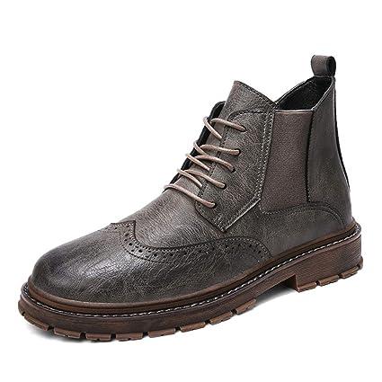 HILOTU Botines Chelsea para Hombre Zapatos Casuales de Alta Oxford Zapatos de Vestir de Cuero con