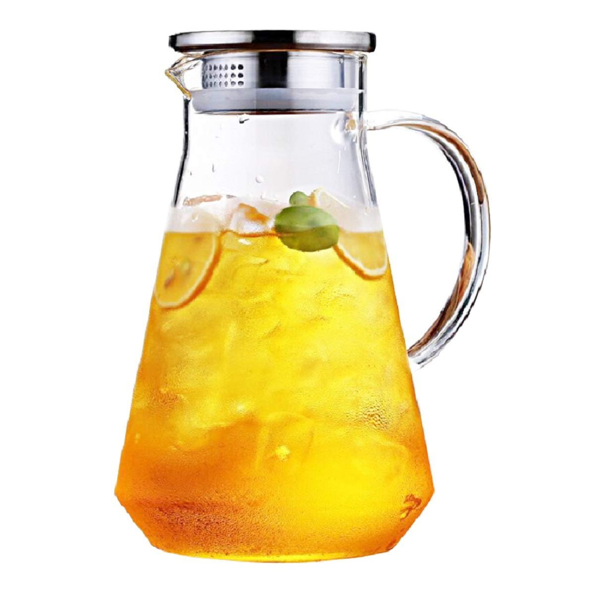 SmartHom 70 Oz Glass Pitcher, Drip Free Water Pitcher With Tight Lid and Pretty Brush