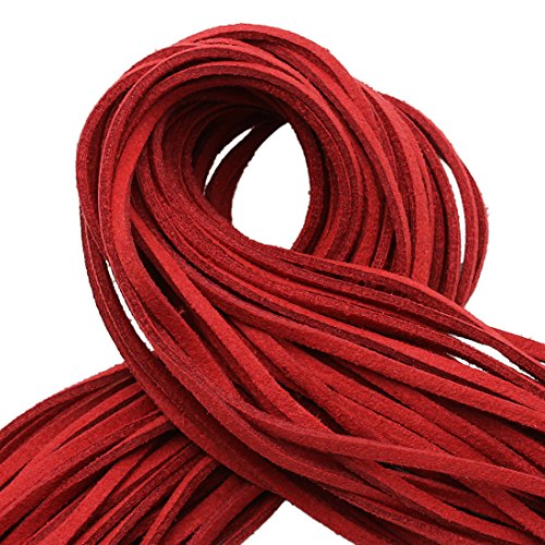 (100 Yard Spool Flat Suede Leather Cord Lace Beading Craft Thread String for Beading Jewelry Crafts (Red))