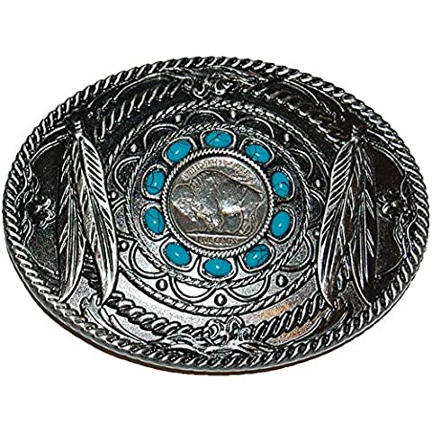 Classic Buffalo Nickel Belt Buckle w/ Native American Feather & Rope Designs - Native American Indian Feathers