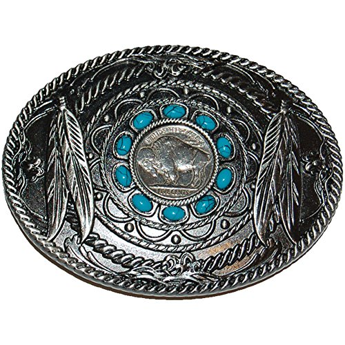 Classic Buffalo Nickel Belt Buckle w/ Native American Feather & Rope Designs (Buffalo Buckle)