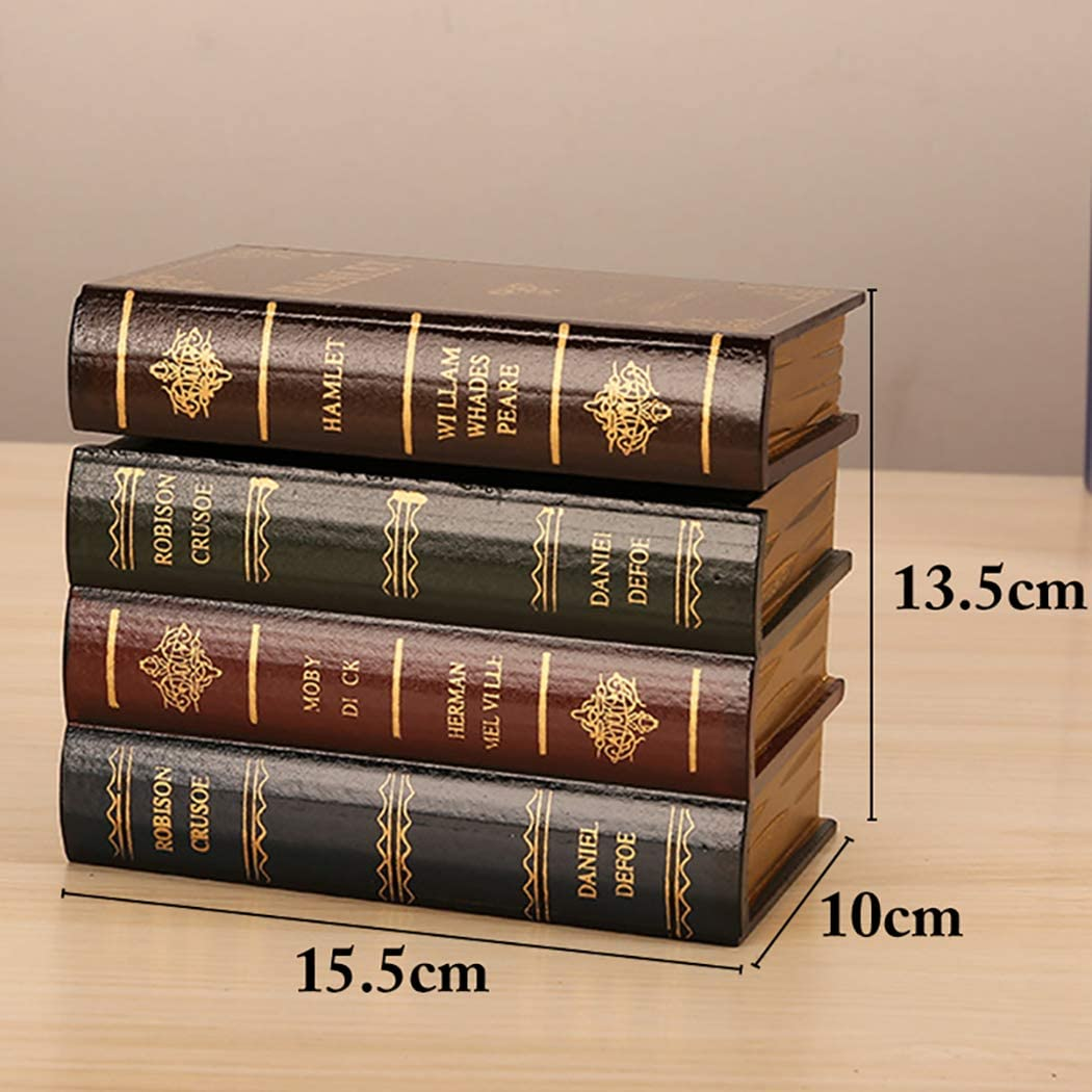 Set of 2 Chris.W Wooden Antique Book-Like Bookends with Hidden Storage Box Classic Decorative Library Book Ends Large + Small