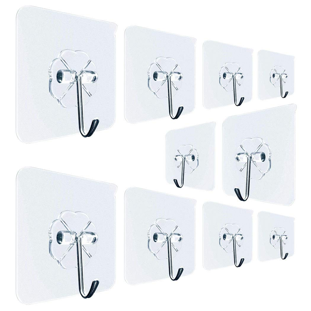 MEETFUN 10pcs Transparent Strong Adhesive Wall Hooks 22 lbs/10kg Heavy Duty Waterproof Reusable Seamless Sticky Hook for Bathroom Kitchen Wall & Ceiling (10)