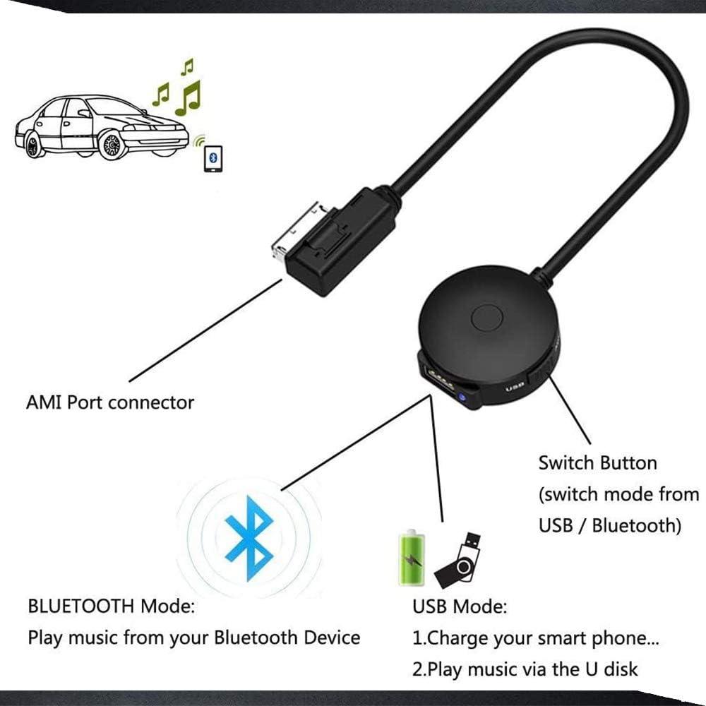 C/âble audio Bluetooth 4.0 AMI MDI pour AUD-I A8L A4L A3 A4 A5 Q5 S5 A6 A7 Volkswagen Tiguan Touareg MMI 3G+ System