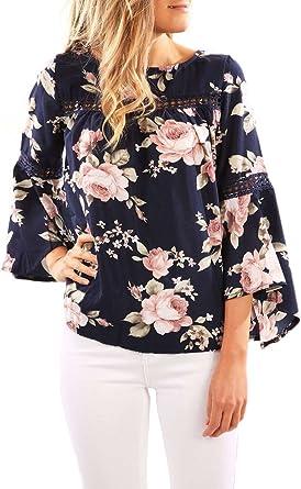 Blusas De Mujer Elegantes Vintage Boho Chic Etnico Estampado Basic Ropa Flores Hippie Moda Hipster Casual Cuello Redondo Manga Larga De La Trompeta Verano Camisas Camiseta Blusa Ropa: Amazon.es: Ropa y accesorios