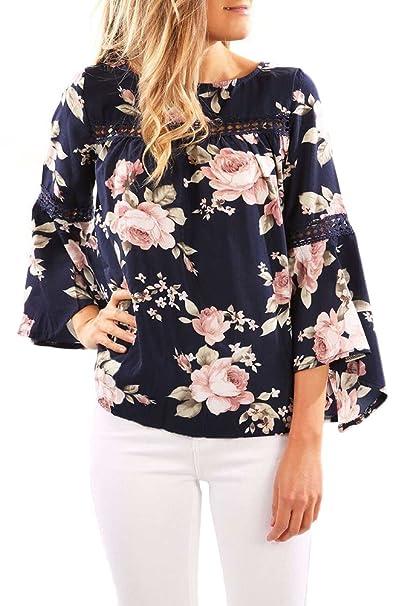 Blusas De Mujer Elegantes Vintage Boho Chic Etnico Estampado Flores Moda Hipster Casual Cuello Redondo Manga Larga De La Trompeta Verano Camisas Camiseta ...