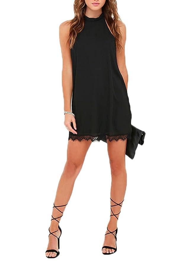 5cc87a5f54 Fantaist Women s Sleeveless Halter Neck Patchwork Lace Mini Casual Shift  Dress at Amazon Women s Clothing store