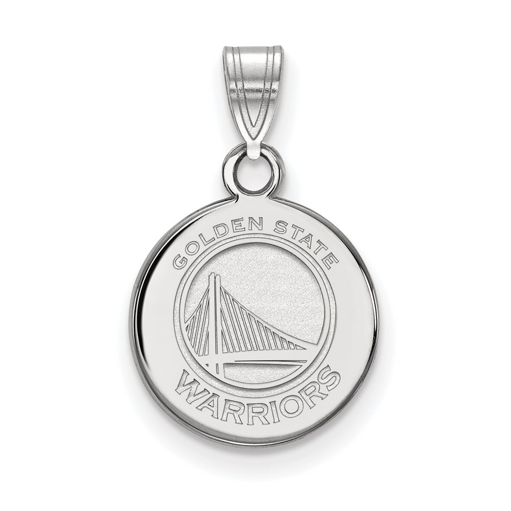 LogoArt NBA Golden State Warriors Small Disc Pendant in Rhodium Plated Sterling Silver