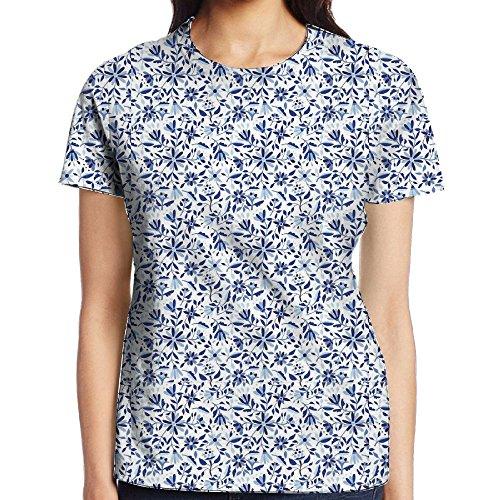 Asian Modern Minimalist Spring Time Flowers Swirls Leaves Custom Women's Blank Short Sleeve Cool Funny Cotton T Shirts Comfort Soft Round Collar Tee Top White (Round Swirl Top)